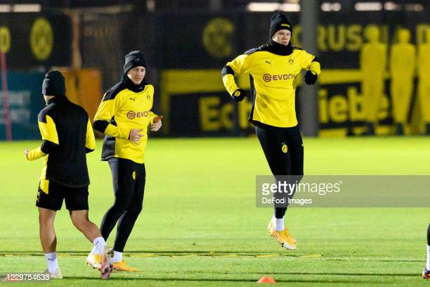 Erling Haaland of Borussia Dortmund looks on ahead of the UEFA Champions League Group F stage match between Borussia Dortmund and Club Brugge KV at...