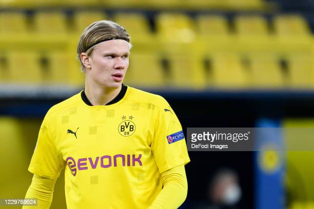 Erling Haaland of Borussia Dortmund looks on during the UEFA Champions League Group F stage match between Borussia Dortmund and Club Brugge KV at...