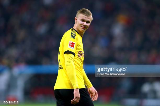Erling Haaland of Borussia Dortmund reacts during the Bundesliga match between Bayer 04 Leverkusen and Borussia Dortmund at BayArena on February 08...