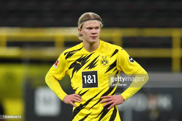 Erling Haaland of Borussia Dortmund reacts during the Bundesliga match between Borussia Dortmund and Hertha BSC at Signal Iduna Park on March 13,...