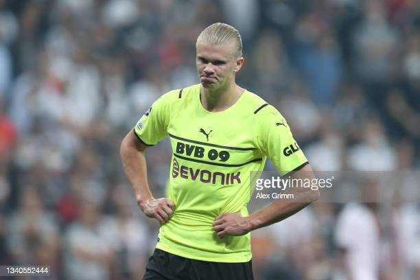 Erling Haaland of Borussia Dortmund reacts during the UEFA Champions League group C match between Besiktas and Borussia Dortmund at Vodafone Park on...