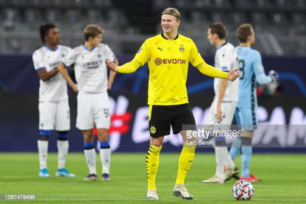 Erling Haaland of Borussia Dortmund reacts prior to kick off during the UEFA Champions League Group F stage match between Borussia Dortmund and Club...