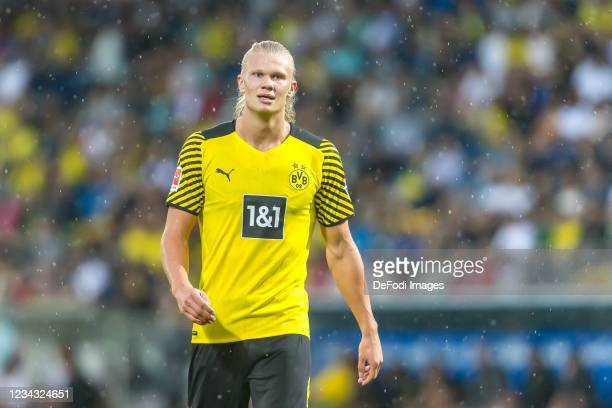 Erling Haaland of Borussia Dortmund Schaut during the Preseason Friendly Match between Borussia Dortmund and FC Bologna at CASHPOINT Arena on July...