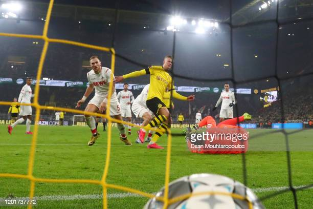 Erling Haaland of Borussia Dortmund scores his sides 4th goal during the Bundesliga match between Borussia Dortmund and 1 FC Koeln at Signal Iduna...