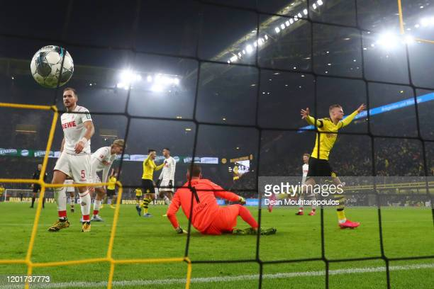 Erling Haaland of Borussia Dortmund scores his sides 4th goal during the Bundesliga match between Borussia Dortmund and 1. FC Koeln at Signal Iduna...