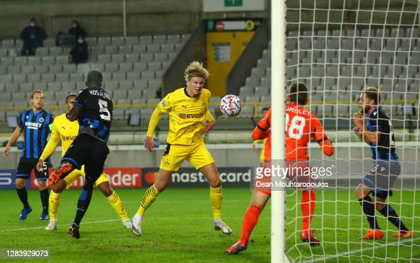 Erling Haaland of Borussia Dortmund scores his sides second goal during the UEFA Champions League Group F stage match between Club Brugge KV and...