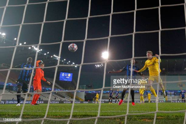 Erling Haaland of Borussia Dortmund scores his sides third goal during the UEFA Champions League Group F stage match between Club Brugge KV and...