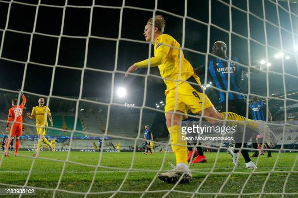 Erling Haaland of Borussia Dortmund scores his team's third goal during the UEFA Champions League Group F stage match between Club Brugge KV and...