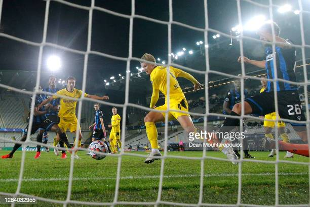 Erling Haaland of Borussia Dortmund scoring his teams second goal of the game during the UEFA Champions League Group F stage match between Club...