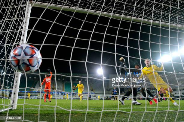 Erling Haaland of Borussia Dortmund scoring his teams third goal of the game during the UEFA Champions League Group F stage match between Club Brugge...