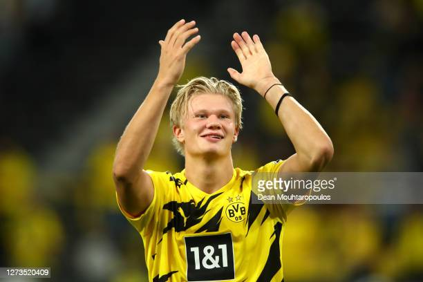 Erling Haaland of Borussia Dortmund shows appreciation to the fans following the Bundesliga match between Borussia Dortmund and Borussia...