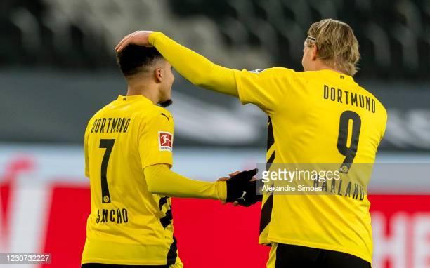 Erling Haaland of Borussia Dortmundcelebrtaes scoring his goal to the 1:1 during the Bundesliga match between Borussia Moenchengladbach and Borussia...