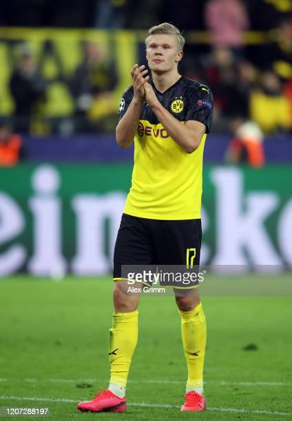 Erling Haaland of Dortmund applauds to the fans after the UEFA Champions League round of 16 first leg match between Borussia Dortmund and Paris...