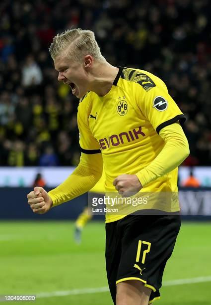 Erling Haaland of Dortmund celebrates during the Bundesliga match between Bayer 04 Leverkusen and Borussia Dortmund at BayArena on February 08 2020...
