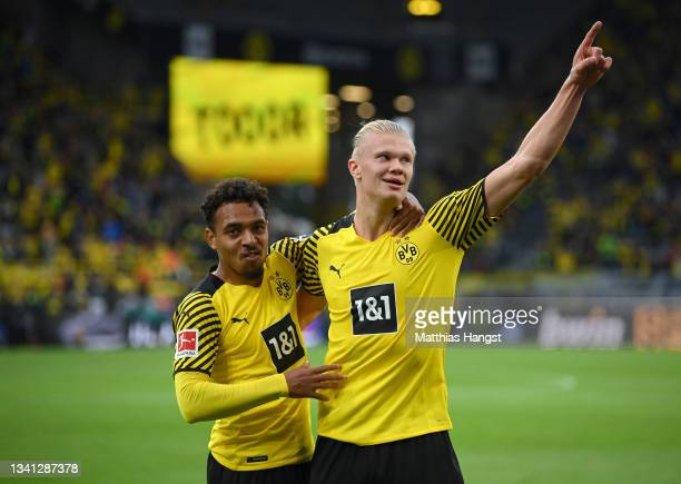 Erling Haaland of Dortmund celebrates his 2-0 goal with teammate Donyell Malen during the Bundesliga match between Borussia Dortmund and 1. FC Union...