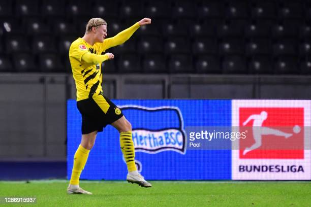 Erling Haaland of Dortmund celebrates his team's fifth and his personal fourth goal during the Bundesliga match between Hertha BSC and Borussia...