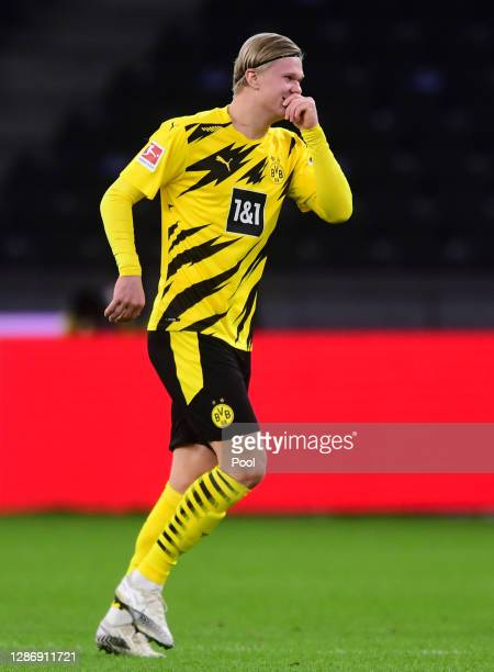 Erling Haaland of Dortmund celebrates his team's first goal during the Bundesliga match between Hertha BSC and Borussia Dortmund at Olympiastadion on...