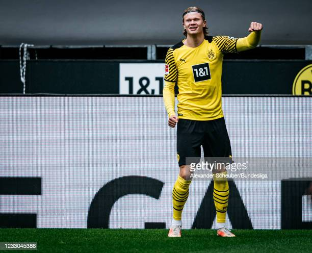Erling Haaland of Dortmund celebrates the first goal for his team during the Bundesliga match between Borussia Dortmund and Bayer 04 Leverkusen at...
