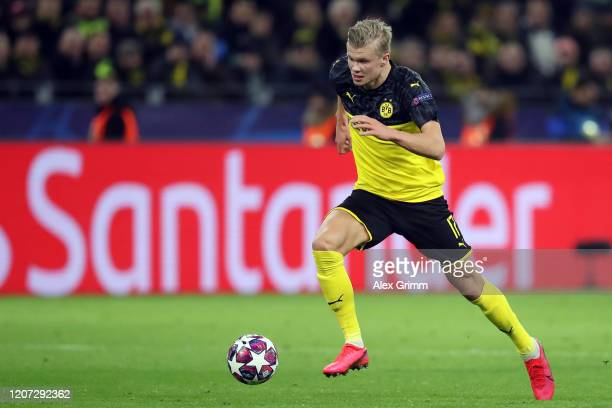Erling Haaland of Dortmund controls the ball during the UEFA Champions League round of 16 first leg match between Borussia Dortmund and Paris...