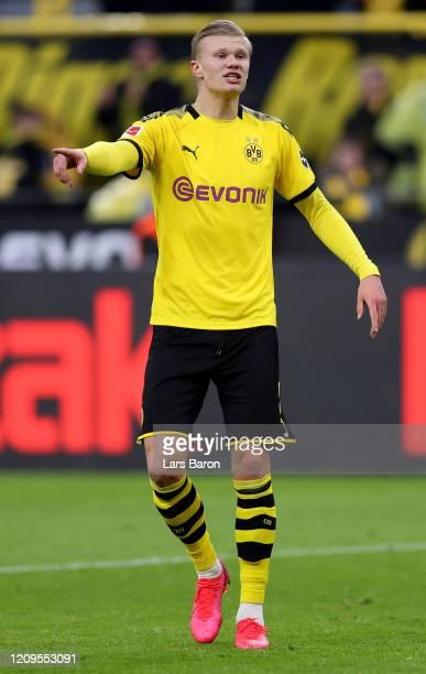 Erling Haaland of Dortmund is seen during the Bundesliga match between Borussia Dortmund and Sport-Club Freiburg at Signal Iduna Park on February 29,...