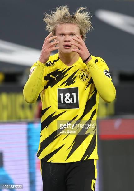Erling Haaland of Dortmund is seen during the Bundesliga match between Borussia Dortmund and VfL Wolfsburg at Signal Iduna Park on January 03, 2021...