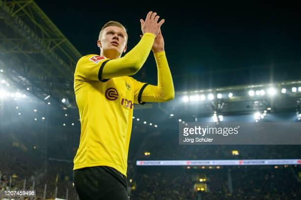 Erling Haaland of Dortmund reacts during the Bundesliga match between Borussia Dortmund and Eintracht Frankfurt at Signal Iduna Park on February 14,...