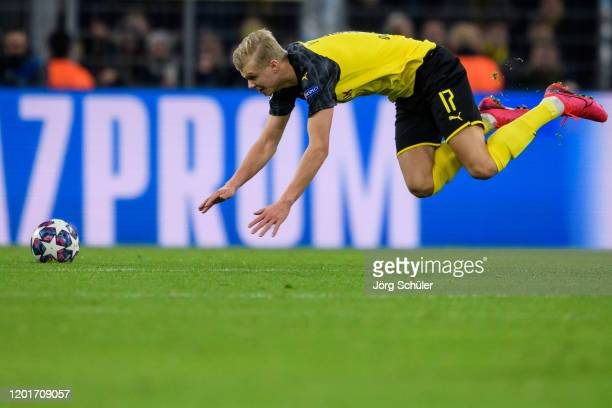 Erling Haaland of Dortmund reacts during the UEFA Champions League round of 16 first leg match between Borussia Dortmund and Paris SaintGermain at...