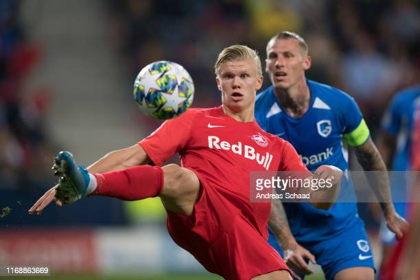Erling Haaland of FC Salzburg and Sebastien Dewaest of KRC Genk during the champions league group E match between FC Salzburg and KRC Genk at...
