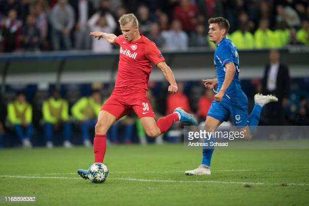 Erling Haaland of FC Salzburg celebrates after scores on the goal for 20 during the Champions League group E match between FC Salzburg and KRC Genk...