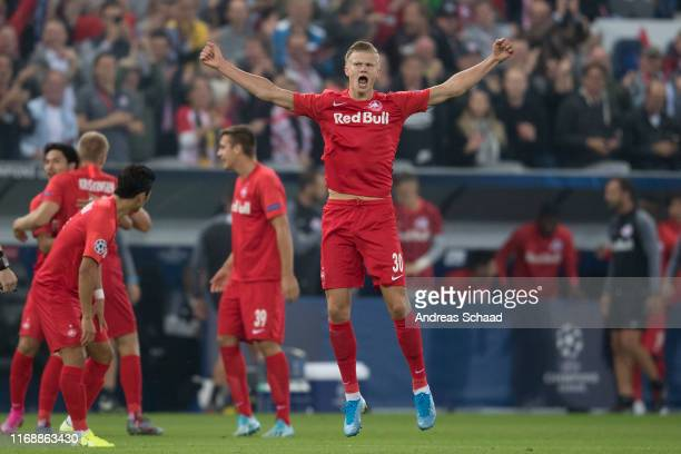 Erling Haaland of FC Salzburg celebrates after scoring the goal for 10 during the champions league group E match between FC Salzburg and KRC Genk at...