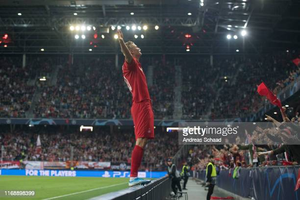 Erling Haaland of FC Salzburg celebrates after scoring the goal for 20 during the Champions League group E match between FC Salzburg and KRC Genk at...