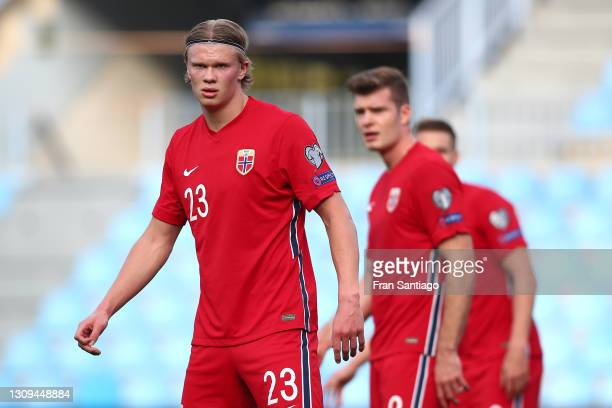 Erling Haaland of Norway looks on during the FIFA World Cup 2022 Qatar qualifying match between Norway and Turkey at the La Rosaleda Stadium on March...