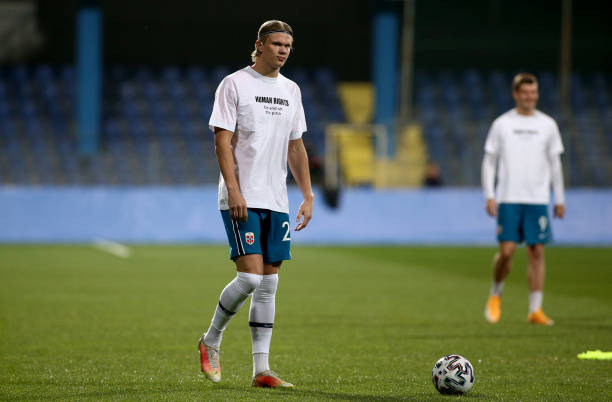 Erling Haaland of Norway warms up prior to the FIFA World Cup 2022 Qatar qualifying match between Montenegro and Norway on March 30, 2021 in...