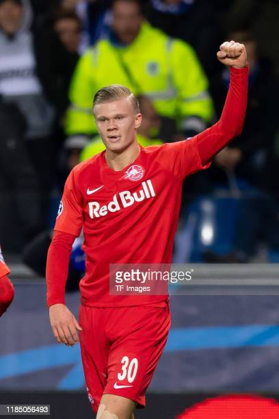 Erling Haaland of RB Salzburg celebrates after scoring his team's fourth goal during the UEFA Champions League group E match between KRC Genk and RB...