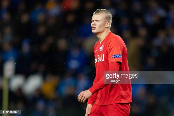 Erling Haaland of RB Salzburg looks on during the UEFA Champions League group E match between KRC Genk and RB Salzburg at Luminus Arena on November...