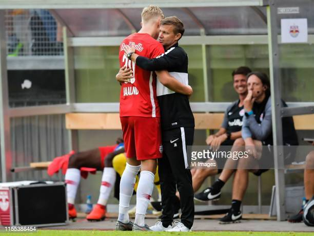 Erling Haaland of Red Bull Salzburg, coach Jesse Marsch of Red Bull Salzburg during the Pre-season Friendly match between FC Red Bull Salzburg and...