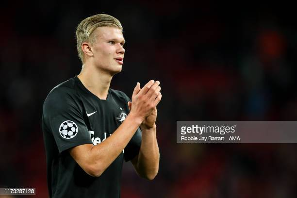 Erling Haaland of Red Bull Salzburg during the UEFA Champions League group E match between Liverpool FC and RB Salzburg at Anfield on October 2 2019...
