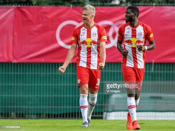 Erling Haaland of Red Bull Salzburg, Jerome Onguene of Red Bull Salzburg during the Pre-season Friendly match between FC Red Bull Salzburg and...