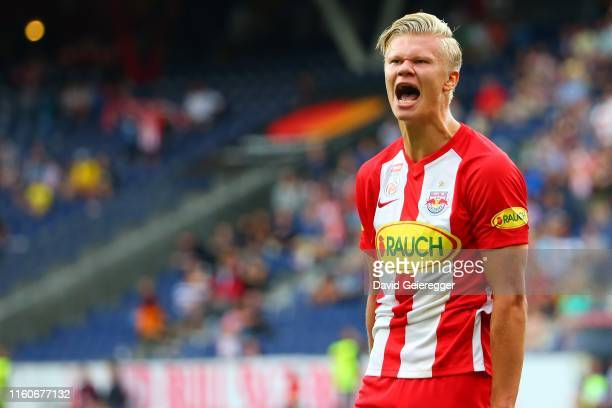 Erling Haaland of Salzburg celebrates after scoring during the tipico Bundesliga match between FC Red Bull Salzburg and RZ Pellets WAC at Red Bull...