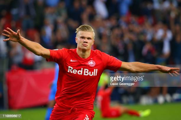 Erling Haaland of Salzburg celebrates after scoring during the UEFA Champions League match between RB Salzburg and KRC Genk at Red Bull Arena on...