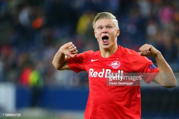 Erling Haaland of Salzburg celebrates the victory after the UEFA Champions League match between RB Salzburg and KRC Genk at Red Bull Arena on...