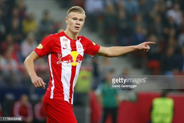 Erling Haaland of Salzburg gestures during the tipico Bundesliga match between FC Red Bull Salzburg and SK Rapid Wien at Red Bull Arena on October 27...