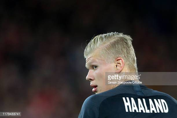 Erling Haaland of Salzburg looks back during the UEFA Champions League group E match between Liverpool FC and RB Salzburg at Anfield on October 2,...