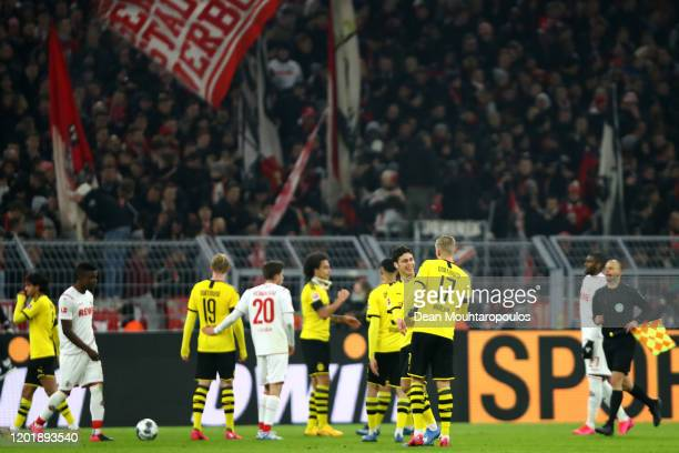 Erling Haland and Giovanni Reyna of Borussia Dortmund celebrate after victory in the Bundesliga match between Borussia Dortmund and 1 FC Koeln at...