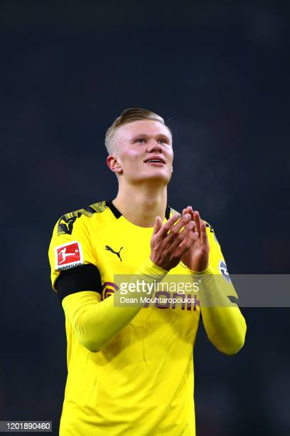 Erling Haland of Borussia Dortmund thanks the fans after victory in the Bundesliga match between Borussia Dortmund and 1 FC Koeln at Signal Iduna...