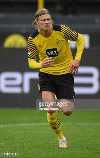 Erling Haland of Dortmund runs for the ball during the Bundesliga match between Borussia Dortmund and Bayer 04 Leverkusen at Signal Iduna Park on May...