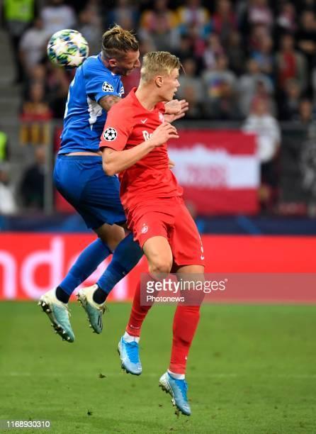 Erling Haland of FC Salzburg and Sebastien Dewaest defender of Genk pictured during Champions League group E match between KRC Genk and FC Salzburg...