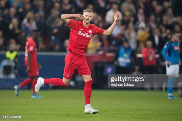 Erling Haland of FC Salzburg celebrates after scoring on the goal for 11 during the champions league group E match between FC Salzburg and SSC Napoli...