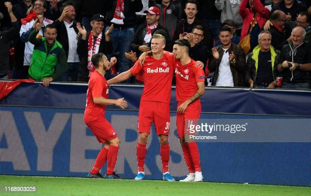 Erling Haland of FC Salzburg celebrates scoring a goal pictured during Champions League group E match between KRC Genk and FC Salzburg on September...