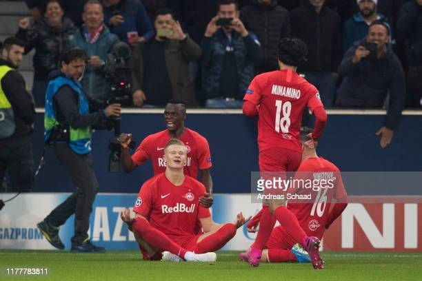 Erling Haland of FC Salzburg celebrates with his teammate Patson Daka of FC Salzburg after scoring on the goal for 1:1 during the champions league...